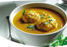 Spiced Carrot Soup with Dumplings