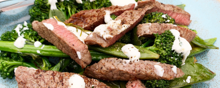 Steak Strips with Broccoli Salad
