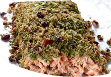 Salmon with Watercress Quinoa Crust