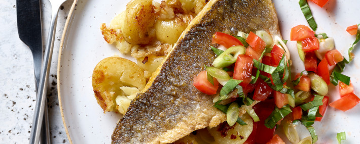 Sea Bass With Tomato Salsa & Crushed Potatoes